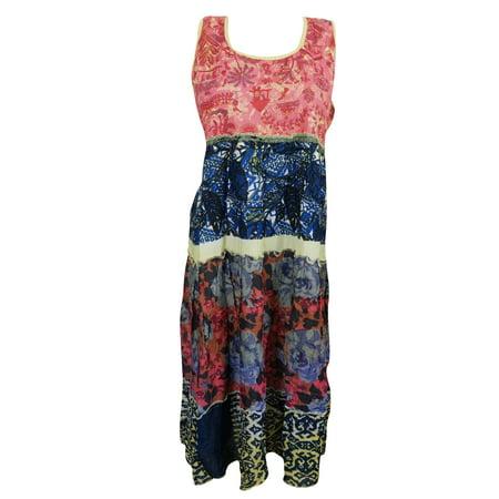 Mogul Womens Sleeveless Dress Ethnic Print Gypsy Hippie Chic Midi - Womens Hippie Dresses
