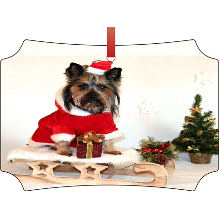 Office Christmas Decorating Themes (Ornaments Yorkie Yorkshire Terrier Puppy Christmas Theme Double Sided Elegant Aluminum Glossy Christmas Ornament Tree Decoration - Unique Modern Novelty Tree Décor)