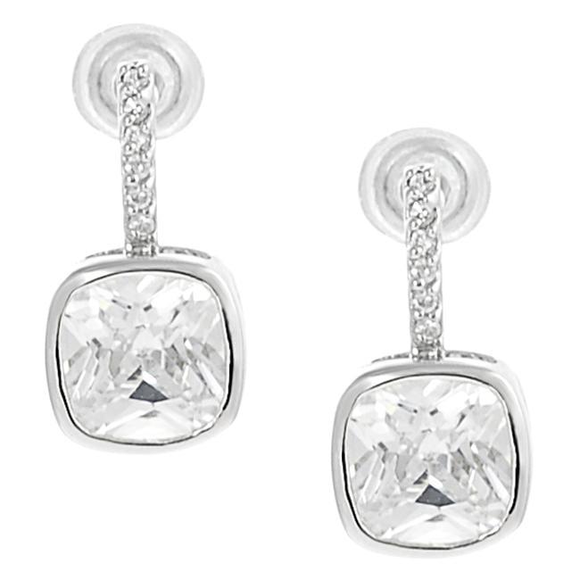 Journee Collection  Silvertone Pave-set Cushion-cut CZ Dangle Earrings