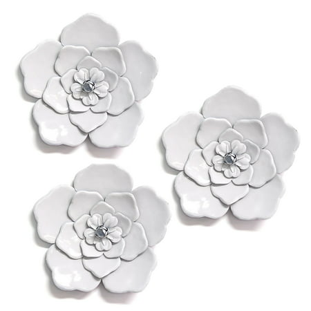 Stratton Home Decor White Metal Wall Flowers (Set of 3) ()