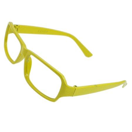 Unique Bargains Unique Bargains Women Plastic Full Rims No Lens Yellowgreen Spectacles Frame