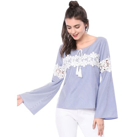 Women's Elegant Lace Panel Bell Sleeve Striped Blouse Shirt Tops Blue M (US 10)