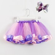 Girls Kids Tutu Party Dance Ballet Baby Costume Skirt+Bow Hairpin Set