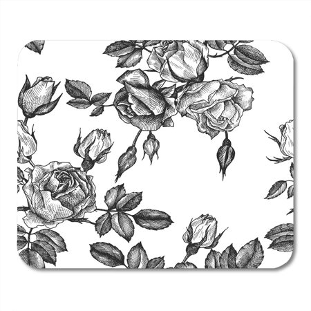 LADDKE Vintage Floral in Victorian Style with Flowers Buds and Leaves of Roses Ink Drawing Imitation Engraving Mousepad Mouse Pad Mouse Mat 9x10 inch