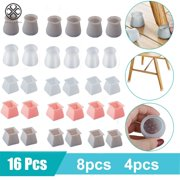 Luxtrada 16/8/4Pcs Furniture Silicon Protection Covers - Table Chair Leg Caps Silicone Floor Protector Round/Square Furniture Table Feet Covers, Anti-Slip Bottom Chair Leg Pads