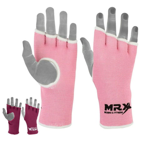 MRX Womens Training Boxing Inner Gloves Bandages MMA Fist Hand Wraps Protector Mitts (Pink, Large)
