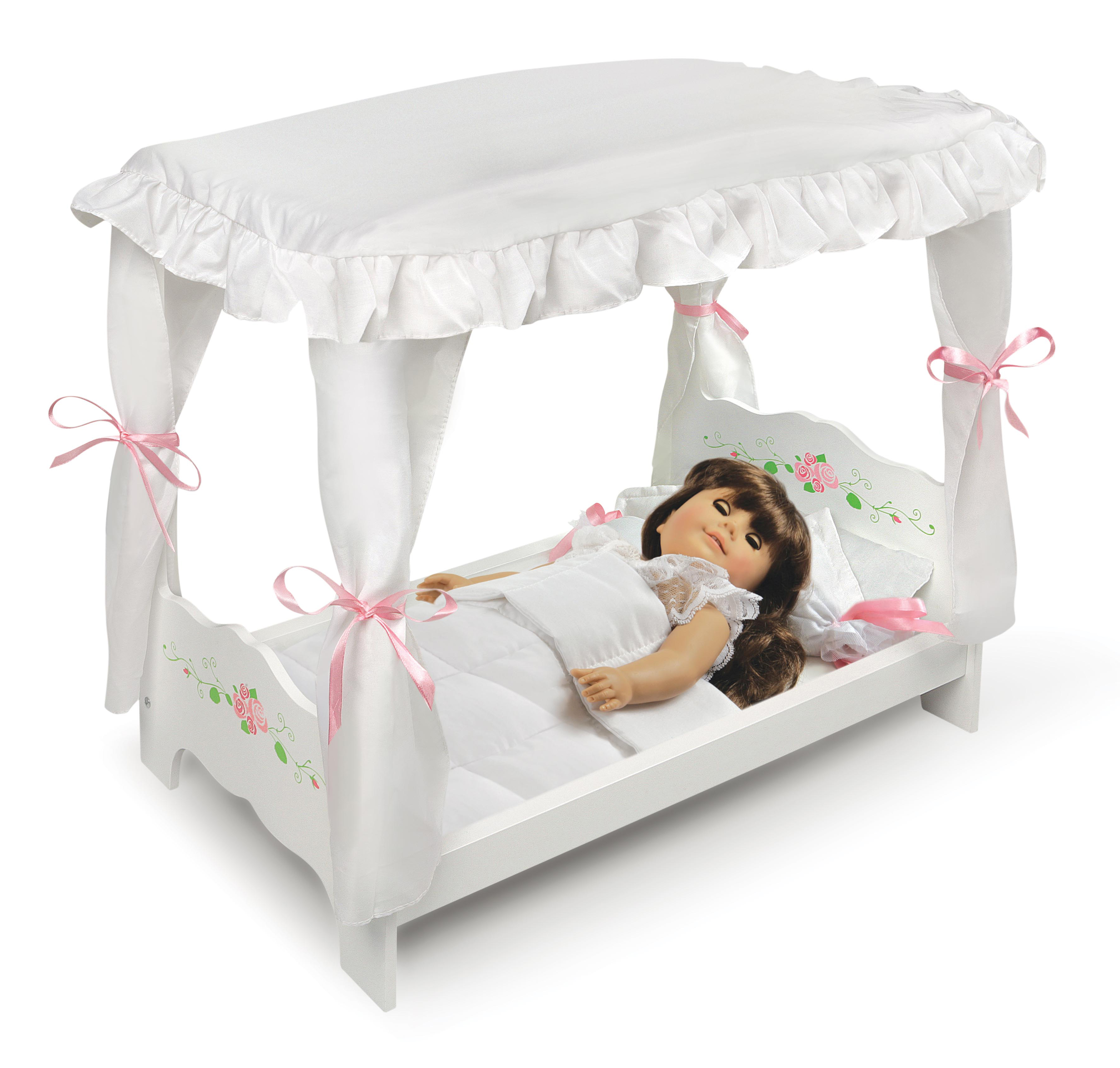 White Rose Doll Bed with Bedding