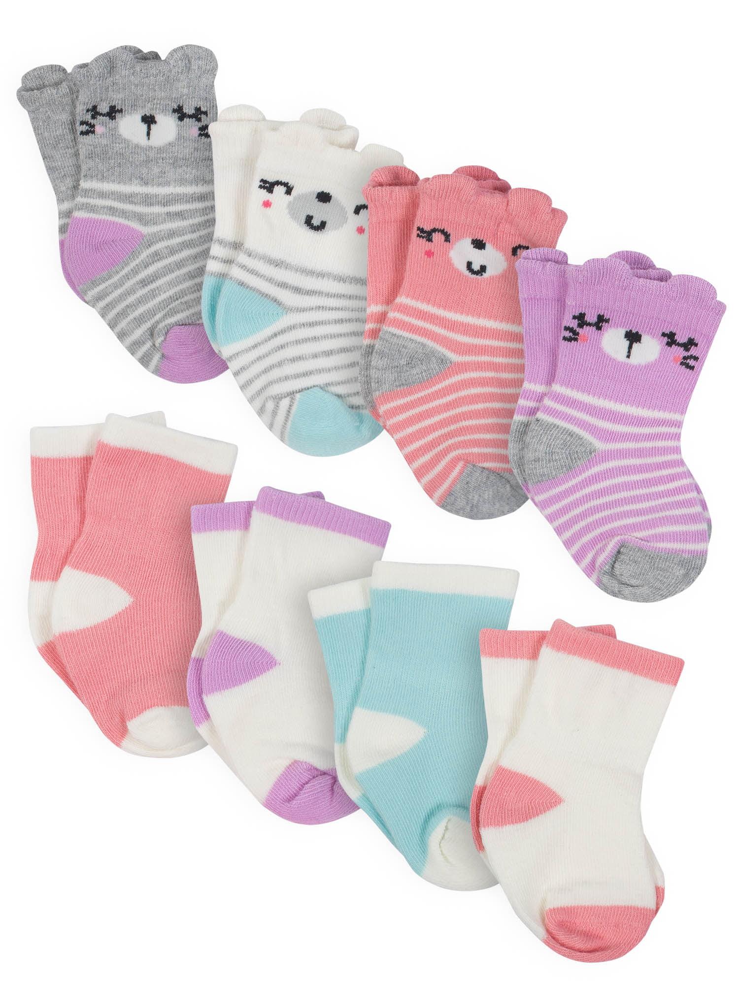 GERBER Baby Girls 8-Pair Wiggle Proof Sock