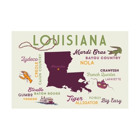 Alexandria, Louisiana and Icons Print Wall Art By Lantern Press (Alexandria Louisiana Halloween)