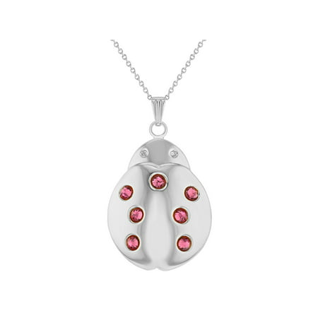 In Season Jewelry Silver Tone Ladybug Locket Pink Crystals Teens Girls Kids Necklace Pendant 16