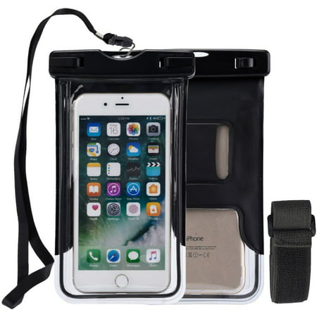 Transparent Vinyl Lanyard - WaterProof Phone Pouch, Universal Waterproof Phone Case Transparent Pouch Glows in Dark Dry Bag With Arm Band Function for Apple iPhone 8, iPhone 8 Plus - Black, Lanyard, Armband, Reflective