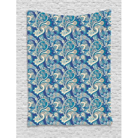Paisley Tapestry, Authentic Asian Inspired Floral Persian Fashion Boho Art Illustration Print, Wall Hanging for Bedroom Living Room Dorm Decor, Teal Navy and Tan, by - Asian Inspired Wall Art