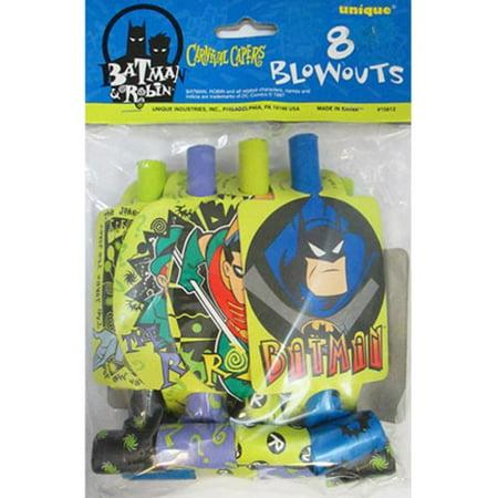 Batman Vintage 1997 'The Adventures of Batman and Robin' Blowouts (8ct) - Batman And Robin Party Decorations