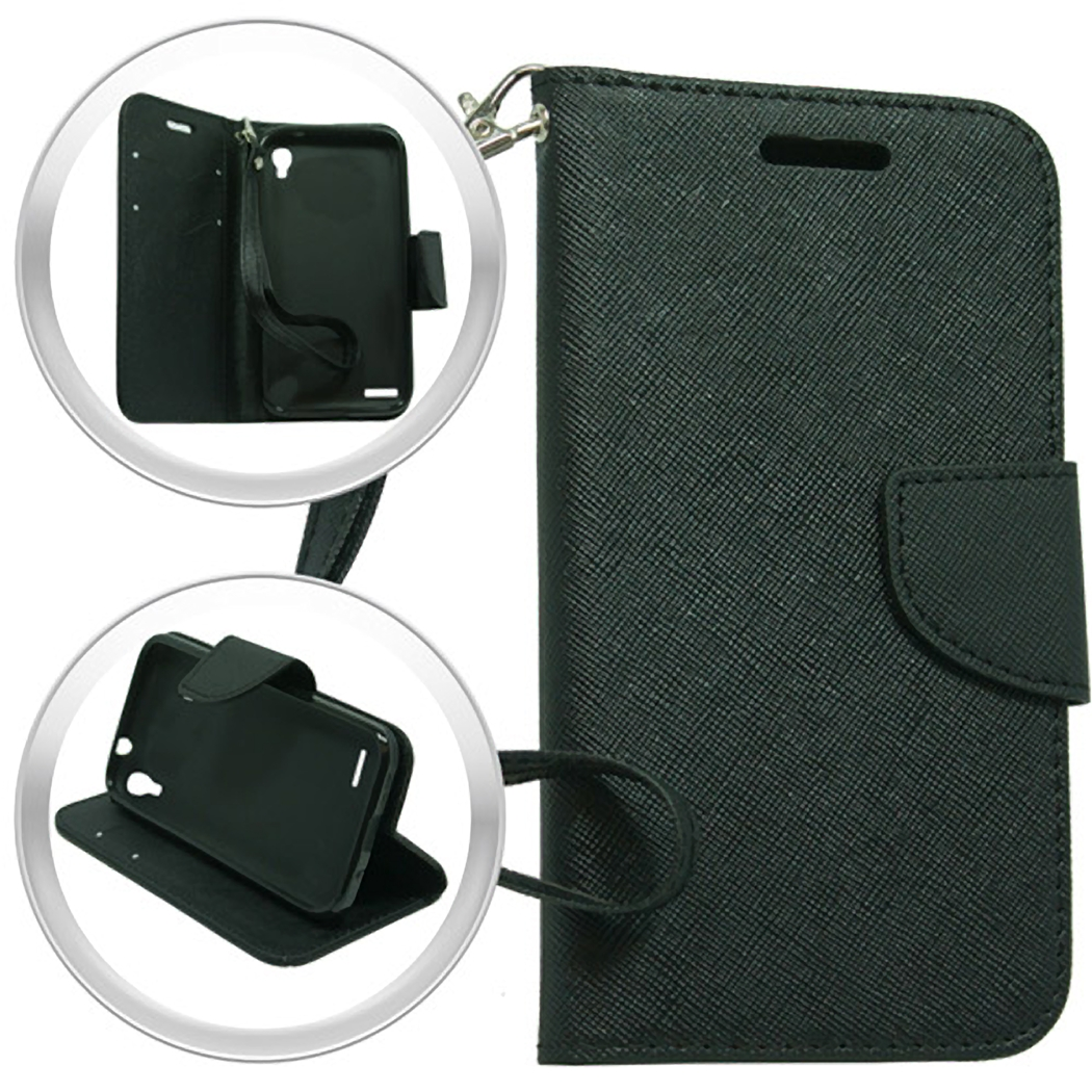 (XL) ZTE Warp Elite N9518 Wallet Pouch Black