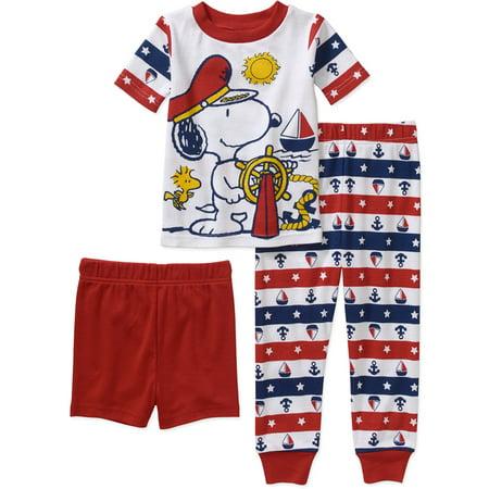 559256823ae0 Peanuts - Snoopy Baby Toddler Boy 3-Piece Pajama Set - Walmart.com