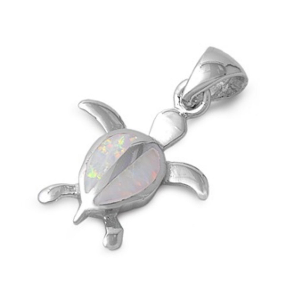 Turtle Glitzs Jewels 925 Sterling Silver Created Opal Pendant for Necklace in Gift Box White