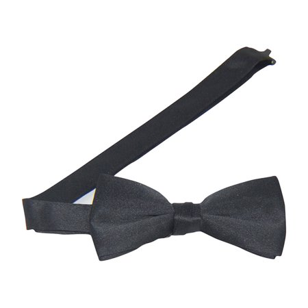 Black Satin Banded Bow Tie