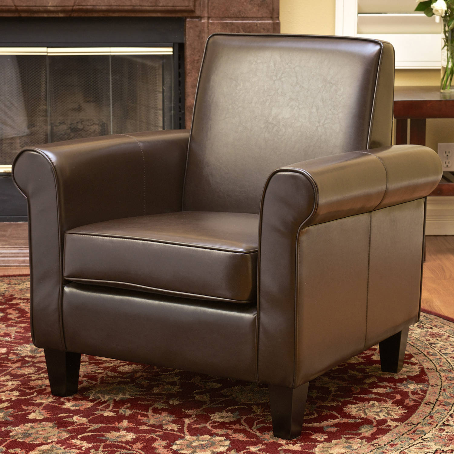 Noble House Liam Leather Brown Club Chair
