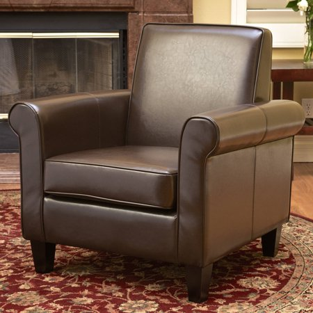 Noble House Liam Leather Brown Club Chair Eco Leather Club Chair