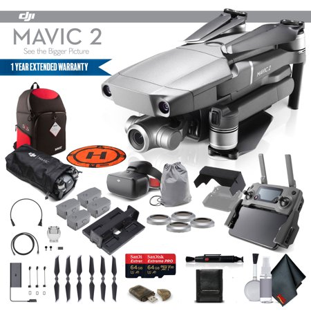 DJI Mavic 2 Zoom (CP.MA.00000020.01) With DJI Racing Goggles, 2 64GB Cards, 3 Extra Batteries, Charging Hub, Propeller Guard, BackPack, Extended Warranty and More - 4 Battery Goggle