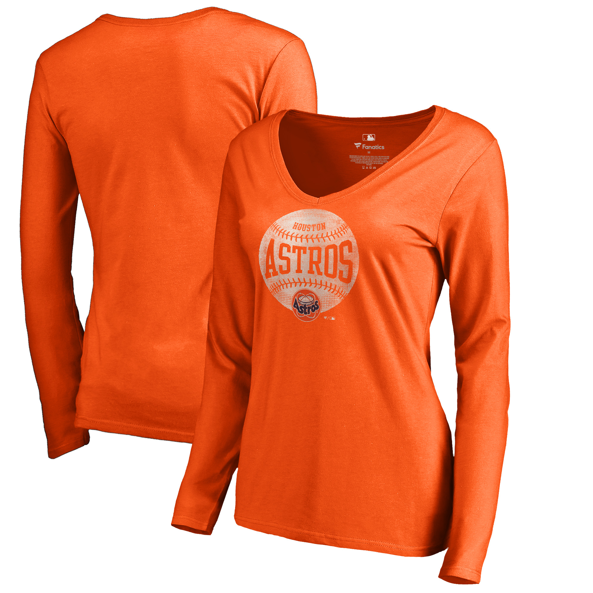 Houston Astros Fanatics Branded Women's Cooperstown Collection Slider Long Sleeve V-Neck T-Shirt - Orange