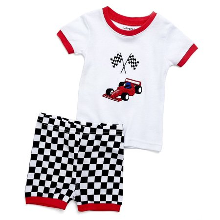 Leveret Shorts Racing Car 2 Piece Pajama Set 100% Cotton 4 Year