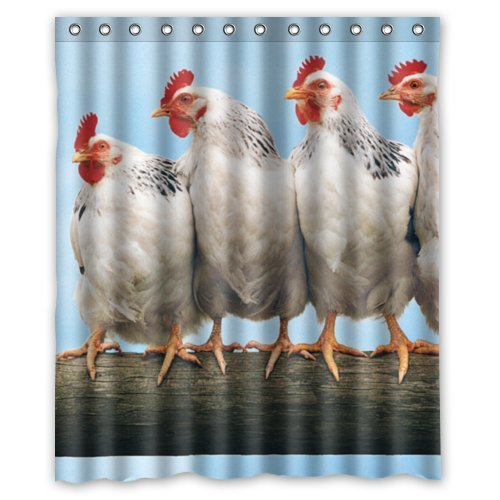 Roosters and hens Table Bathroom Shower Curtain Waterproof Fabric /& 12 Hooks