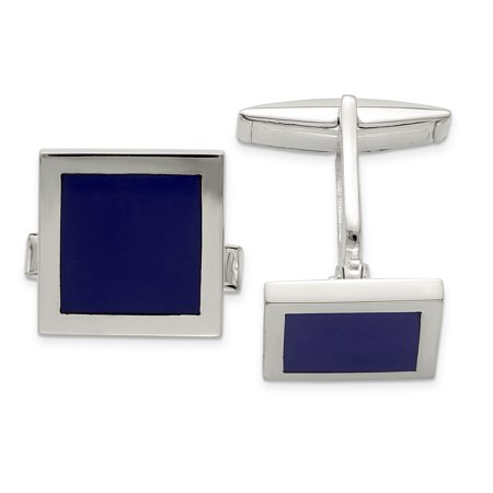 - 925 Sterling Silver Lapis Cuff Links Mens Cufflinks Link Dad Mens Gift Set