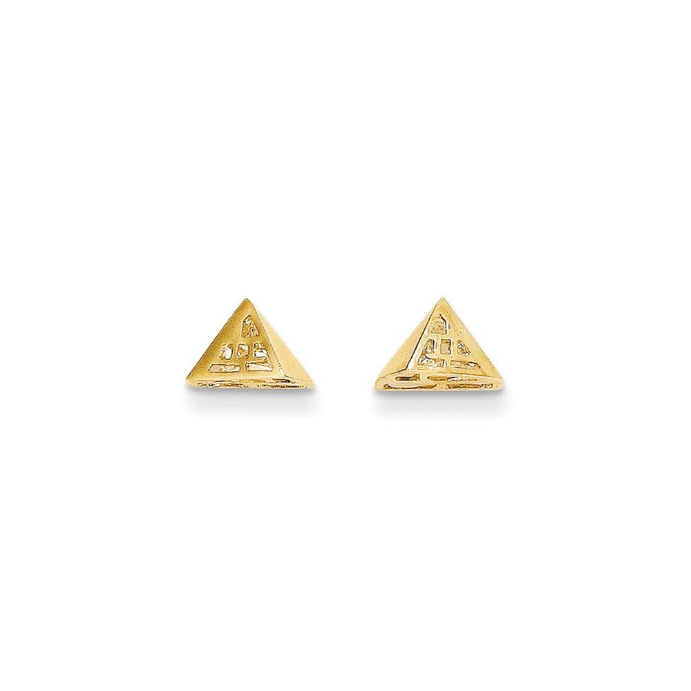 14k Yellow Gold Childs Pyramid Shape w/ CZ inside Post Earrings w/ Gift Box. (6MM Long x 8MM Wide)