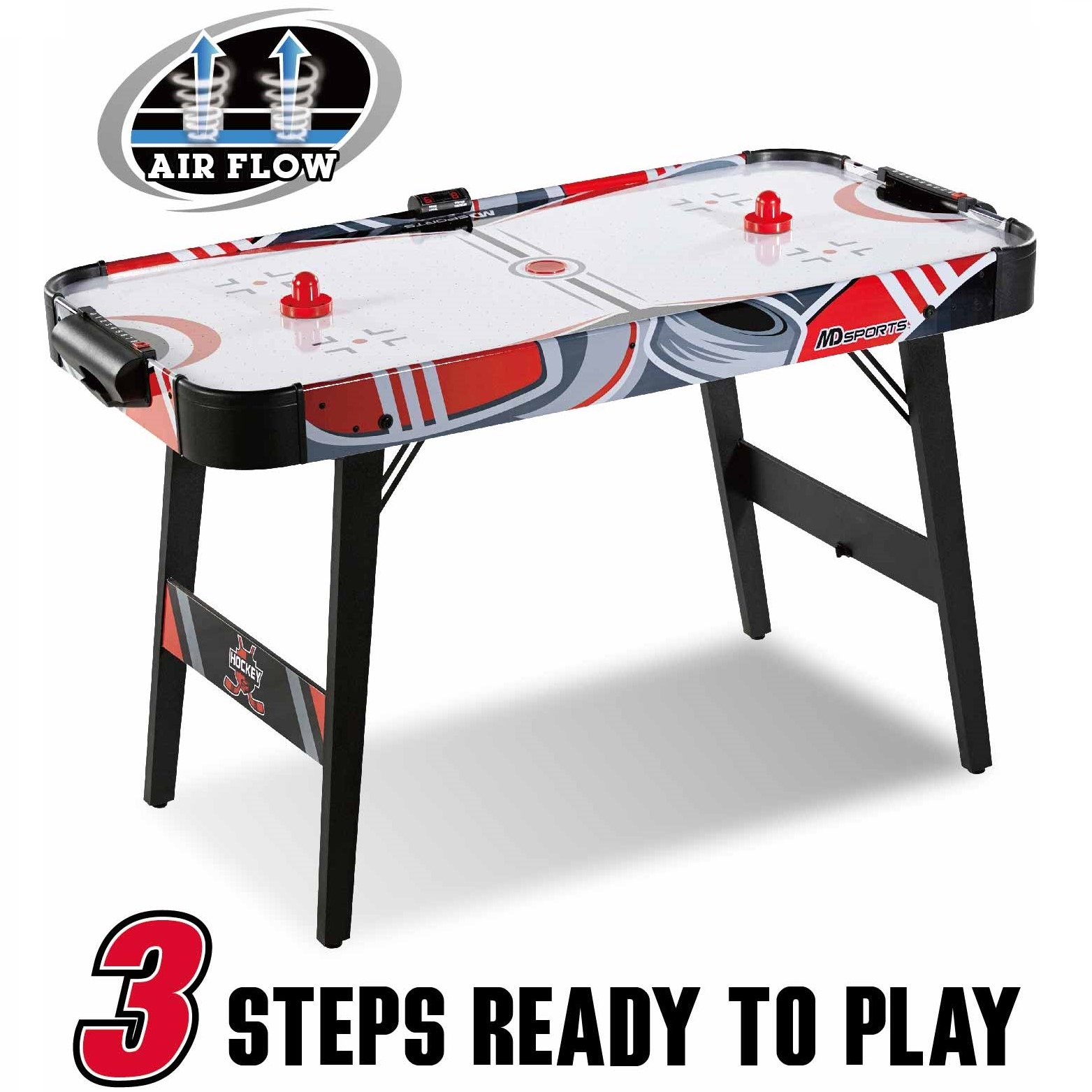 MD Sports Easy Assembly 48 Inch Air Powered Hockey Table, Space-Saving Design, Foldable Legs by MEDAL SPORTS TAIWAN CORPORATION