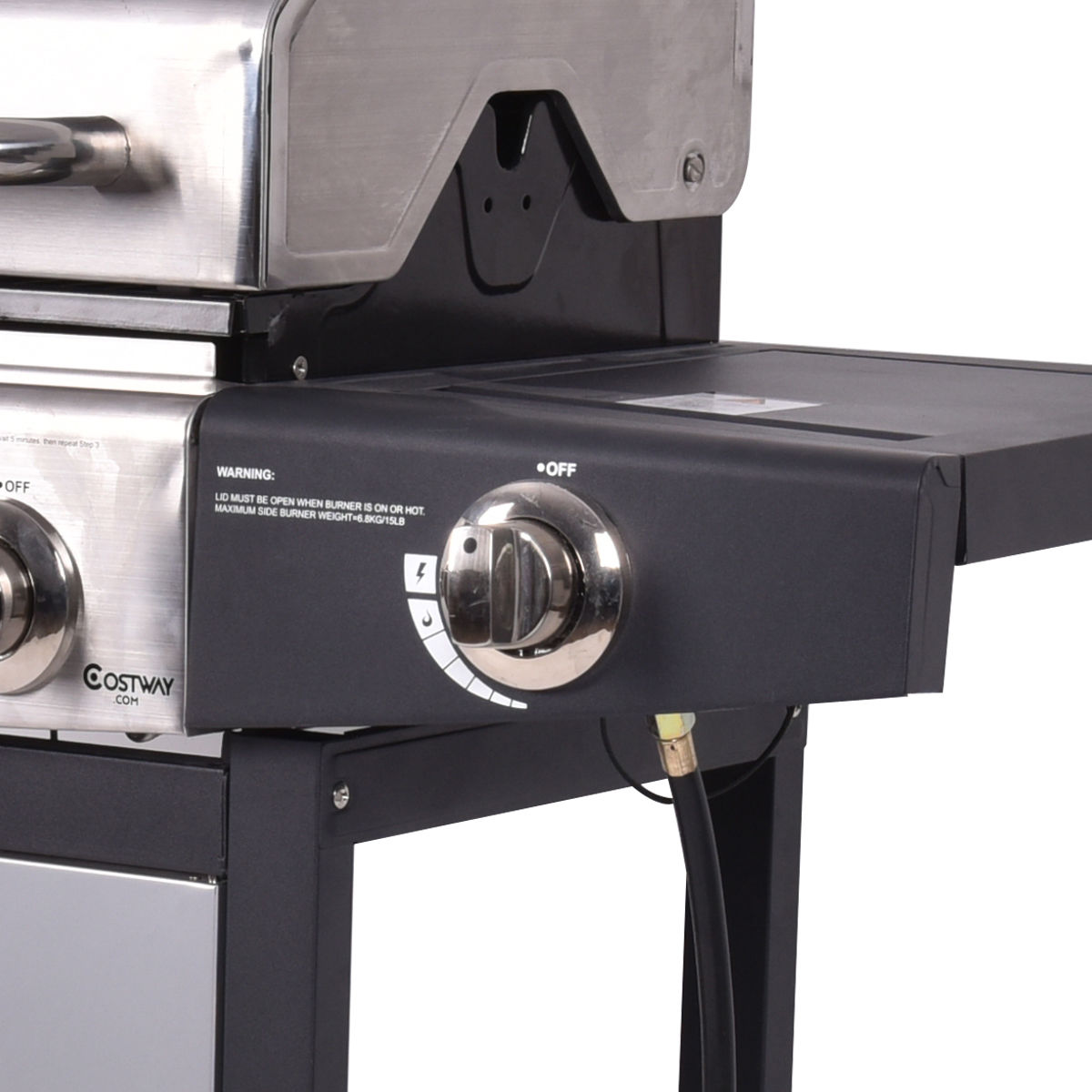 Costway 4 Burner Gas Porpane Grill Stainless Steel Outdoor Patio Cooking BBQ w/ Casters - image 6 of 9