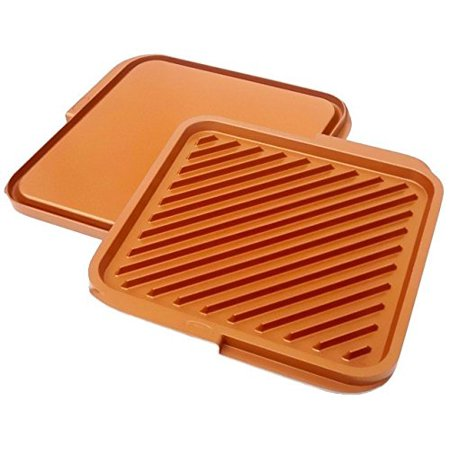Image of 1220 Nonstick Copper Double Grill and Griddle, Reversible with Ti-Cerama Coating, Perfect for BBQs and More – As Seen on TV, Features a grill on 1.., By GOTHAM STEEL