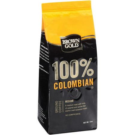 Brown Gold 100 Colombian Medium Ground Coffee 12 Oz