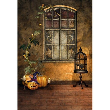 HelloDecor Polyster Vintage Interior Halloween Photo Background Digital Pumpkins Old Window Broken Wall Retro Photography Studio Backdrops 5x7ft (Old Halloween Photos)
