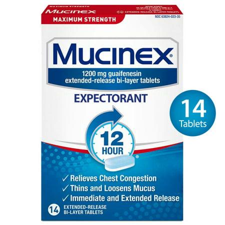 Mucinex Maximum Strength 12-Hour Chest Congestion Expectorant Tablets - 14 (Best Cough Expectorant India)