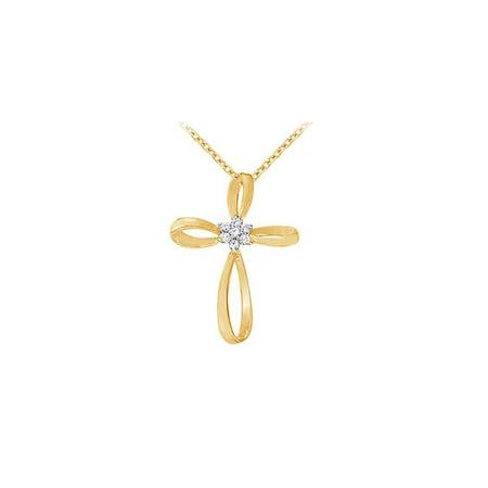 April Birthstone Cubic Zirconia Cross Pendant in 18K Yellow Gold Vermeil over 925 Silver - image 2 de 2