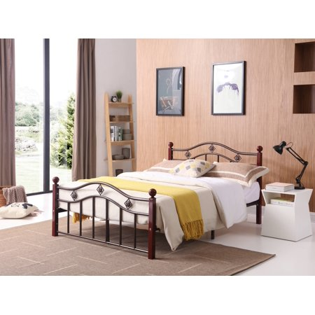 (Hodedah Complete Bronze Metal Bed with Headboard, Footboard, Slats and Rails in Twin Size)