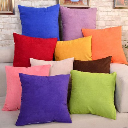 Akozon Throw Pillow Covers Sets Suede Cushion Cases for Couch Sofa Bed Bedroom Soft Comfortable Solid Decorative Car Decoration, 45cm x 45cm/18 x 18in ()