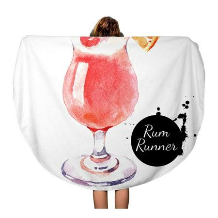 SIDONKU 60 inch Round Beach Towel Blanket Orange Bistro Sketch Watercolor Cocktail Rum Runner Painting Food Travel Circle Circular Towels Mat Tapestry Beach