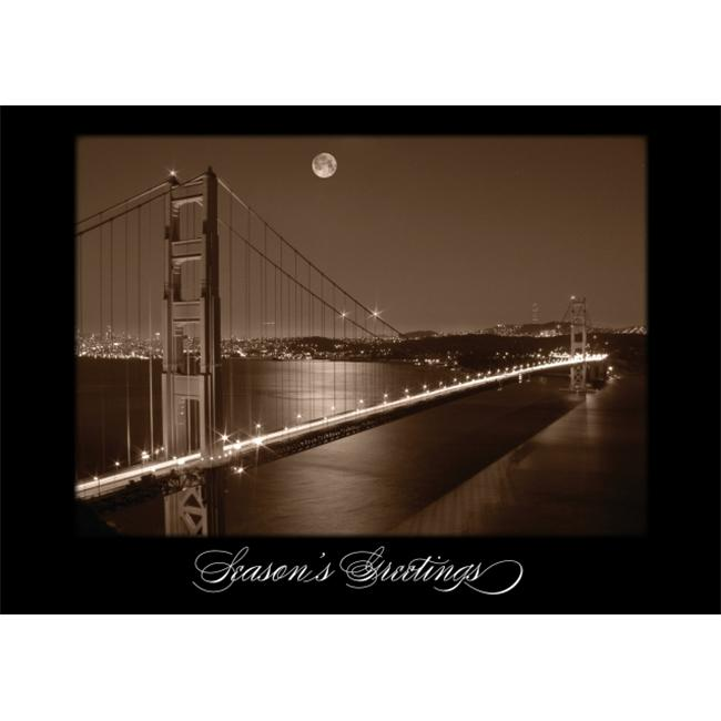 Birchcraft Studios 2142 Golden Gate Bridge at Night - Silver Lined Envelope with White Lining - Black Ink - Pack of 25