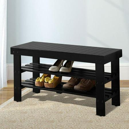 Solid Wood Shoe Shelf Bench 2 Tier Shelves
