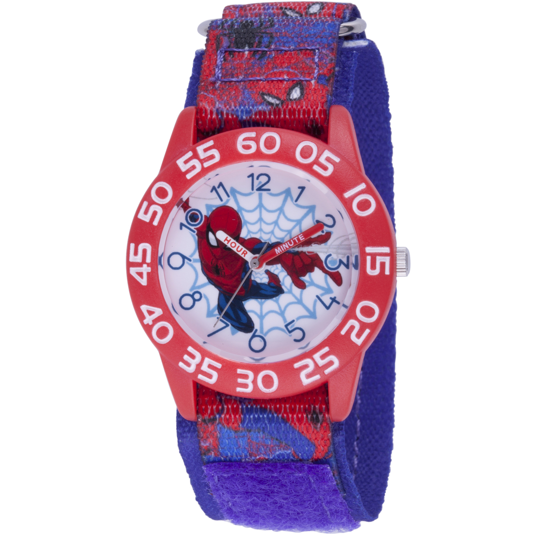 Spider-Man Boys' Red Plastic Time Teacher Watch, Red Spider Man Nylon Strap with Blue Backing
