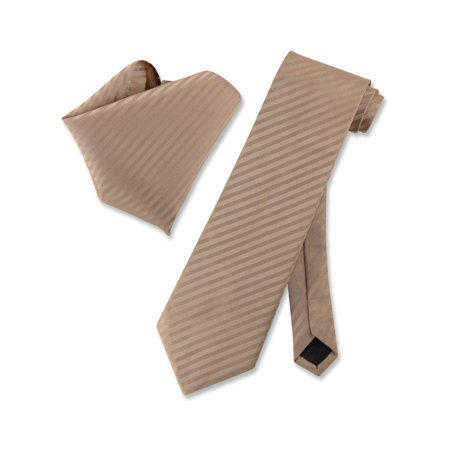 - Vesuvio Napoli MOCHA Light BROWN Striped NeckTie & Handkerchief Matching Tie