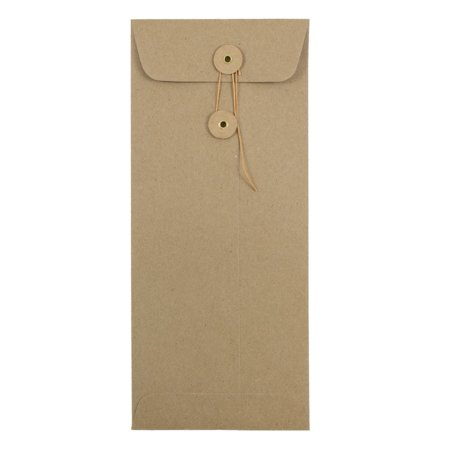 JAM Paper #10 Policy Envelopes with Button and String Tie Closure, 4 1/8 x 9 1/2, Brown Kraft Paper Bag Recycled, 50/pack