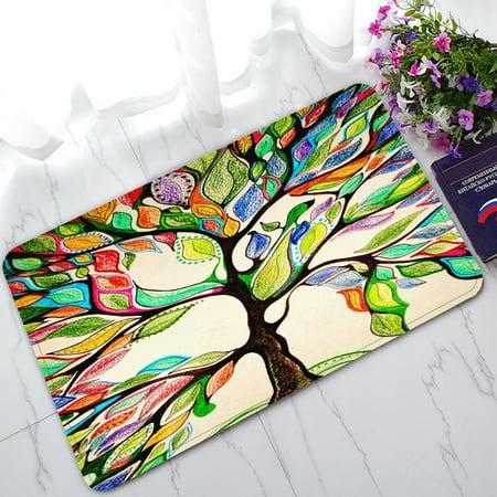 GCKG Tree of Life Gorgeous Leather Non-Slip Doormat Indoor/Outdoor/Bathroom Doormat 30 x 18