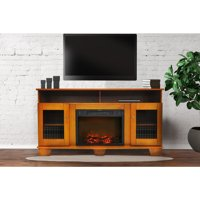 """Cambridge Savona Electric Fireplace Heater with 59"""" Entertainment Stand and Charred Log Display"""