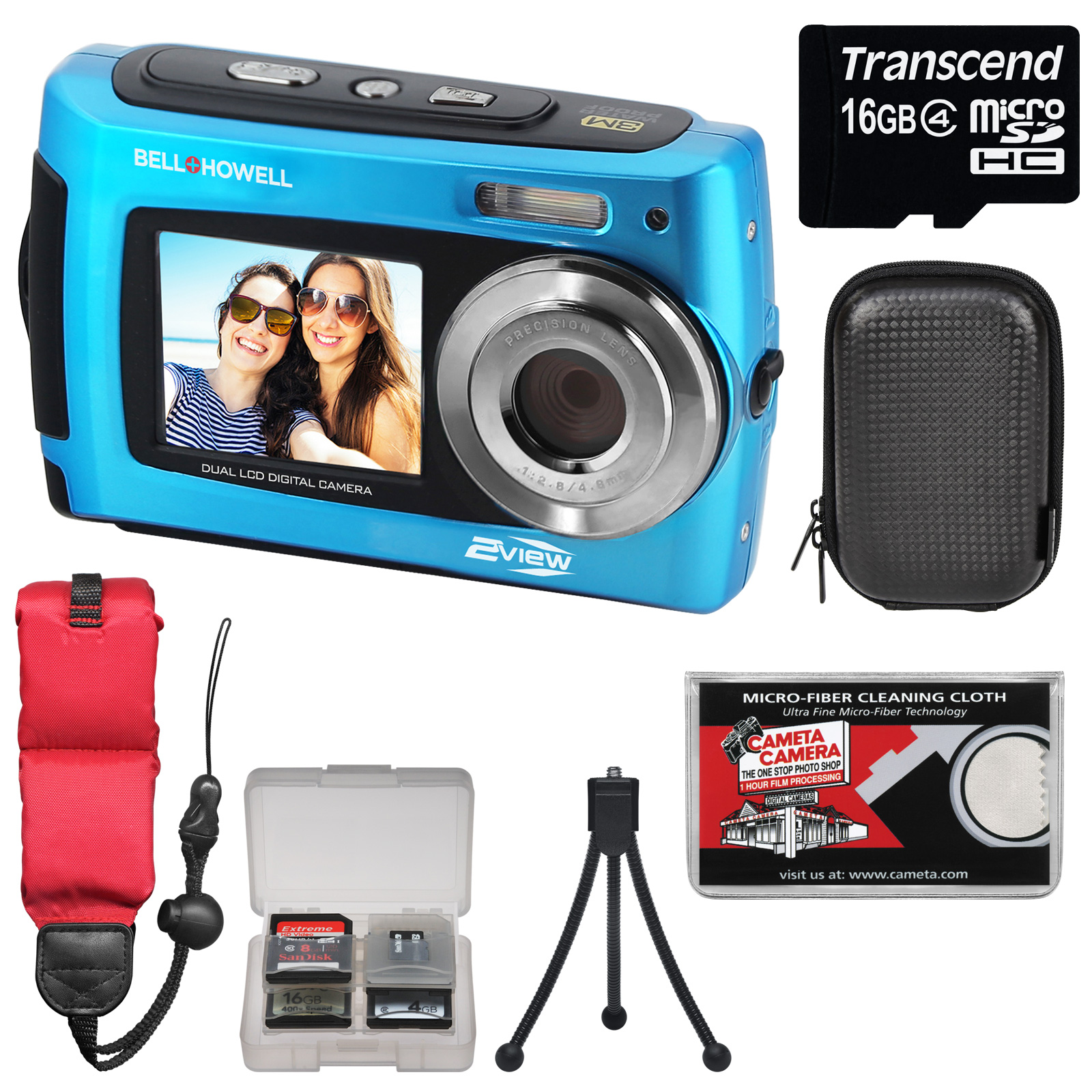 Bell & Howell 2VIEW18 HD Dual Screen Waterproof Digital Camera (Blue) with 16GB Card + Case + Floating Strap + Tripod + Kit