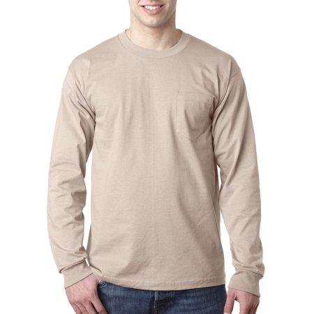 8100 Bayside Unisex Long-Sleeve Cotton Tee Pocket Blank Tshirt