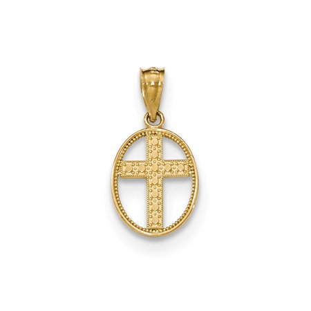 14k Yellow Gold Polished Cross in Oval Pendant