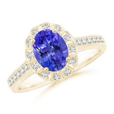 December Birthstone Ring - Vintage Style Tanzanite & Diamond Scalloped Halo Ring in 14K Yellow Gold (8x6mm Tanzanite) - SR0228TD-YG-AAA-8x6-10.5